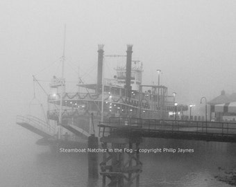 New Orleans Black and White Fine Art Photo – Steamboat Natchez in the Fog– French Quarter Home Decor Travel