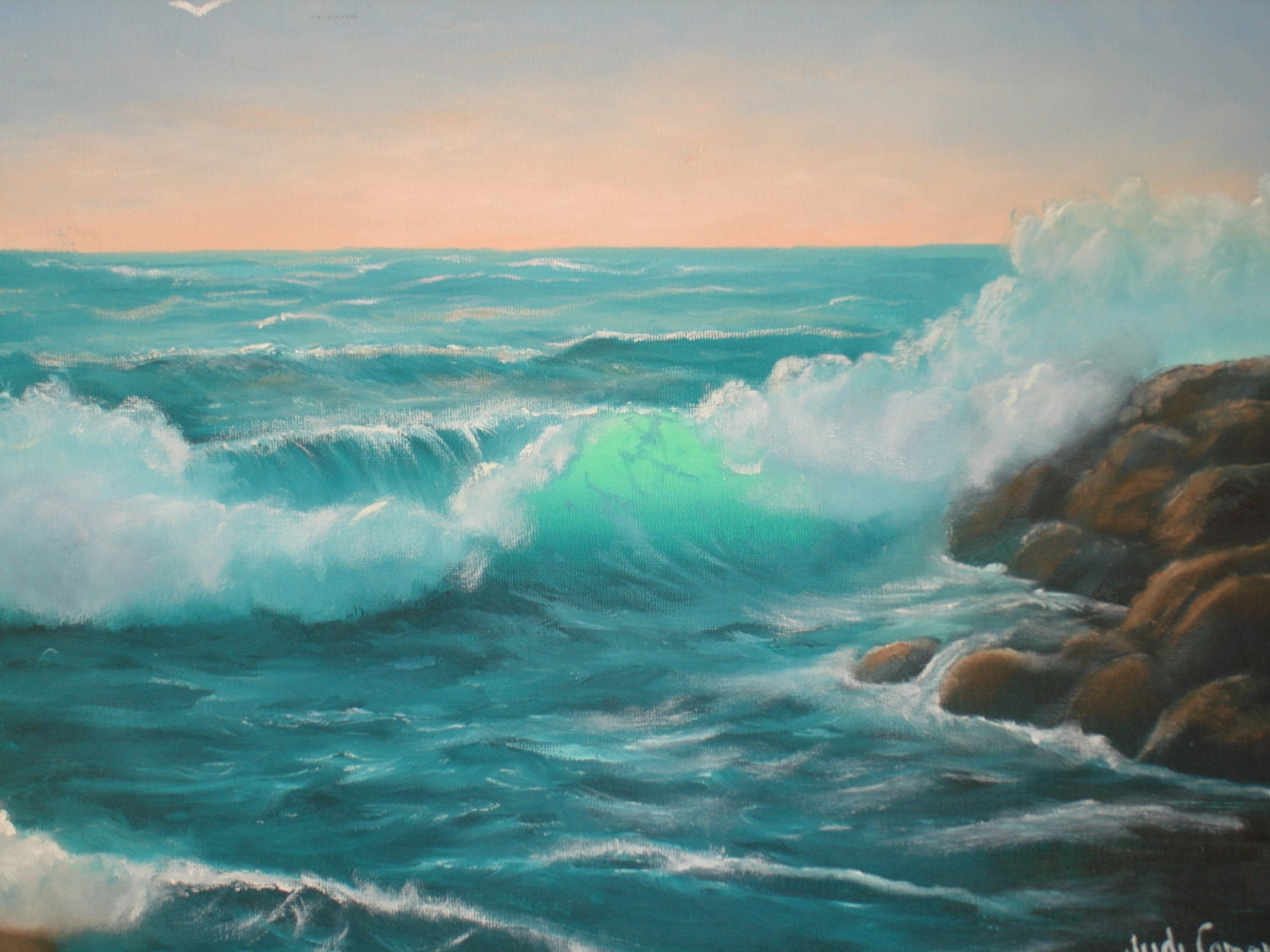 ocean painting of wave with sunset background 16 inch high x