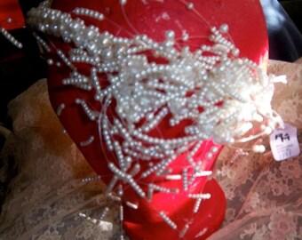 Vintage V Shaped Pearl Drop Veil Cluster Pearls 7 Crystals Left Side 198