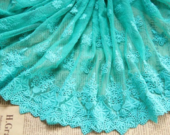 Green  Floral Lace Trim Embroidery Tulle Lace Trim 13.77 Inches Wide 1 Yard L0230