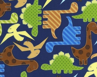 One Yard Navy Dinosaurs Cotton from Urban Zoology by Ann Kelley