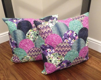 Bohemian scallop pillows, quilted, turned under appliqué. Set of 2 or just buy 1.