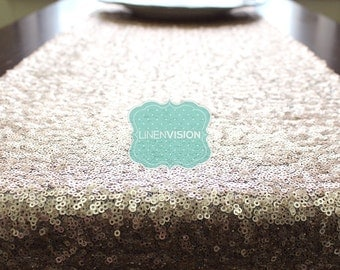 Table Runner - Glitz Sparkly Sequins - CHAMPAGNE - Choose Any Size - Event Home Decor Glam Sparkle Gatsby Party Cake Tablecloth Linen Overla