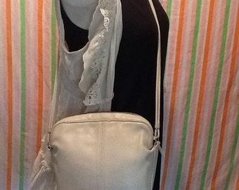 Beige Leather Coach Cross Body Shoulder Bag
