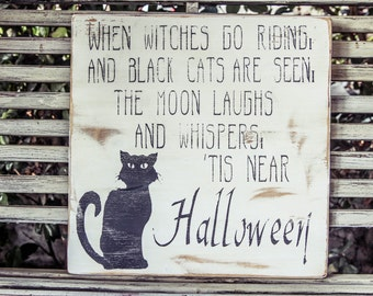 Vintage Halloween Wood Sign - Black Cat
