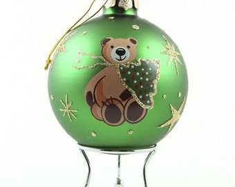 Green Handpainted Glass Christmas Bear Bauble