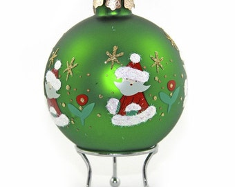 Green Handpainted Glass Christmas Santa Bauble