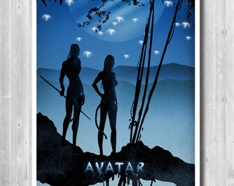 Avatar Movie Poster, Minimalist Poster, Movie art print, Blue Poster, Home & living Print, Gift for Her, Office Decor, Paper Poster