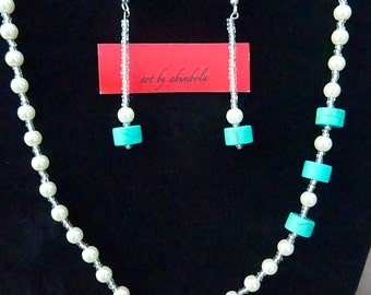 Pearl necklace and drop earrings set