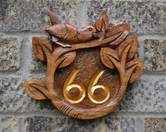 5th Anniversary Gift.House Number.Wall Decor.Housewarming Gift,Handmade.Wood Carving