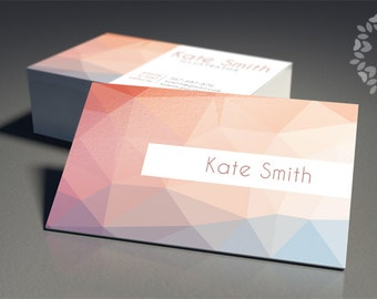 Modern business cards template printable business card design geometrical premade business cards design custom business card template pastel