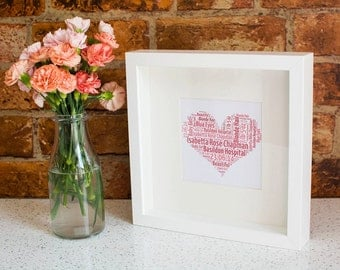 Personalised Word Collage Frame - Any Shape, Colour Words.
