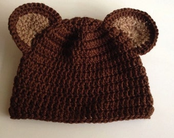 Brown bear baby hat for babies six to eighteen months