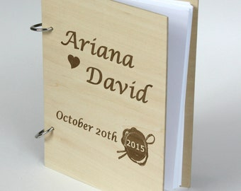 Beautiful Personalized Bride and Groom Names Wedding Guest Book , Anniversary - Bridal shower - Birthday Gift, Photo Prop, Rustic Chic Theme