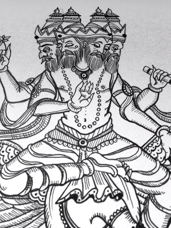 Line Art Hindu Gods : Brahma hindu god faces ink line drawing woodcut a