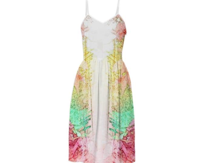 Pure Art Fashion Summer Dress - Party Dress, Long Dress, Sleeveless Sundress, Braces Floral Dress, Sling Dress, Day Dress, Custom-Made Dress