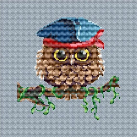 Cross stitch pattern PDF - Owl pirate