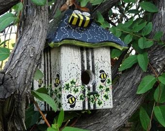 Buzzing Bees Bird Abode - Painted Handmade Wooden Bird House