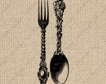 INSTANT DOWNLOAD Fork & Spoon Image Spoon Graphics Fork Dowload Spoon Clipart Fork Images Spoon Digital Sheet Download