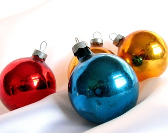 Vintage Christmas Ornaments, Red, Blue and Gold USA Glass Holiday Ornaments, Set of 4