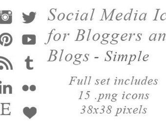 Social Media Button Icons for Bloggers and Blogs Plain Simple Icons of Social Media Logos