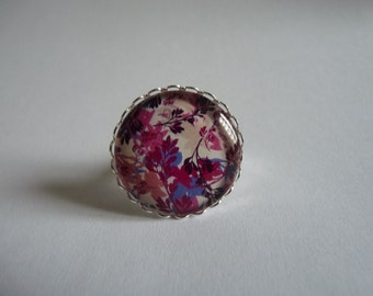Adjustable ring cabochon 25mm colored leaves