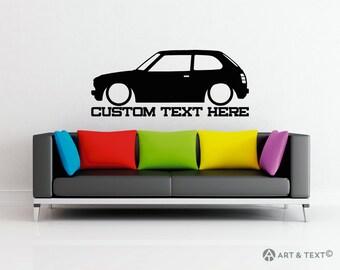 Large Custom personalized text -  classic Honda Civic CVCC wall decor vinyl sticker