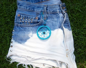 High waisted denim, Levis studded shorts with dream catcher. Order now get free necklace