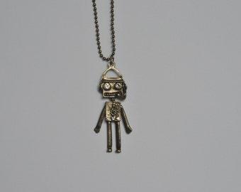 Robot Retro Silver Pendant Necklace
