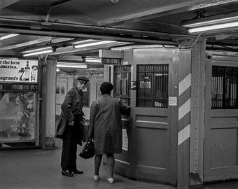 Vintage Black and White Photography Fine Art Print, Grumpy Couple At The Subway Station