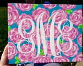 11x14 Hand Painted Lilly Pulitzer Inspired Print with Custom Hand Painted Monogram. Can Have a Different Background if Desired.