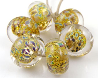 Multicolor Dark with Silver Encased SRA Lampwork Handmade Artisan Glass Donut/Round Beads Made to Order Set of 6 10x15mm