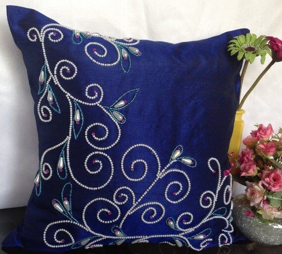 Indigo Blue Decorative Pillow with White by TheWhitePetalsDecor