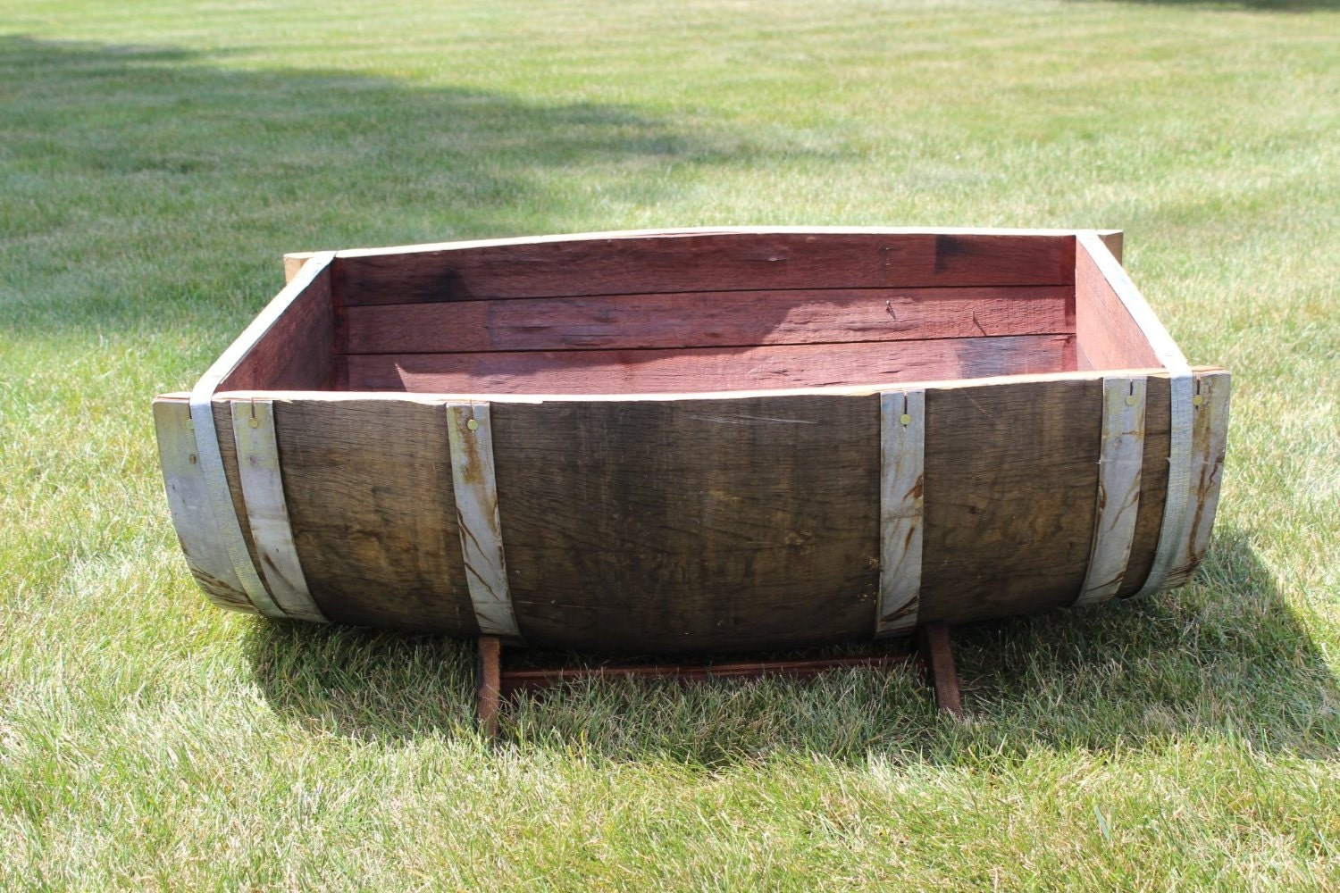 oak wood split wine barrel planter 26w x 35l x