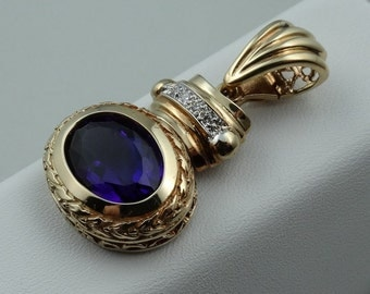 Stunning Vintage 14K Yellow Gold Pendant With A Royal Purple Amethyst and Flashing White Diamonds