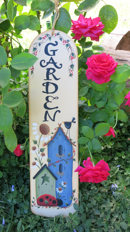 Garden Sign Painted Fan Blade