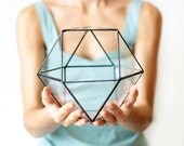 Geometric Terrarium Container, Glass Succulent Planter, Stained Glass Pot, Moss Planter, Gifts for Her, Minimalist Decor, Modern Home Decor