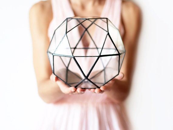Geometric Glass Terrarium / Icosidodecahedron / Handmade Glass Terrarium / Modern Planter for Indoor Gardening / Stained Glass Terrarium
