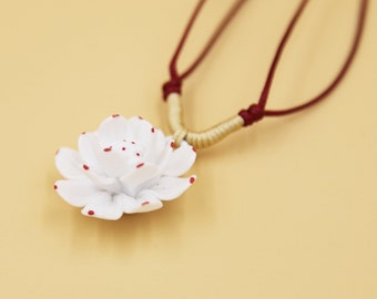 Ceramic Jewelry-pink And White Flower, Adjustable, Hand Weaving, China Necklace