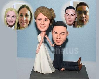 Custom Bride and Groom Cake Toppers ,custom funny wedding cake topper rustic cake topper