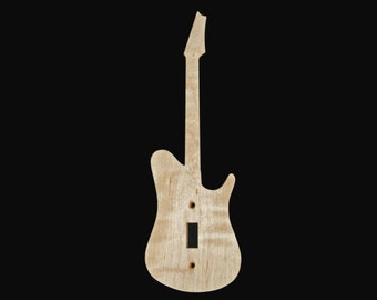 Guitar with Neck Curly Maple Wooden Light Switch Plate Made in USA
