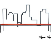 Handmade Bench, Steel, Wood, Mahogany, Furniture, Custom - Mahogany & Steel - Downtown Los Angeles Skyline