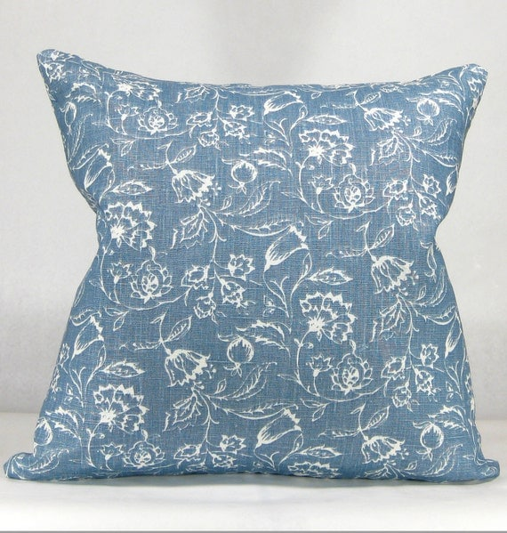 Shabby Chic Throw Pillow Dark Blue and White French Country