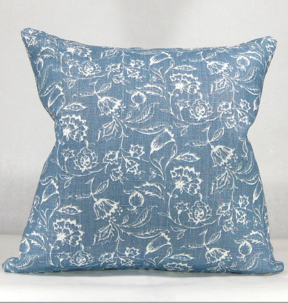 Shabby Chic Blue Pillows : Shabby Chic Throw Pillow Dark Blue and White French Country