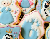 Custom Decorated Frozen Theme Sugar Cookies