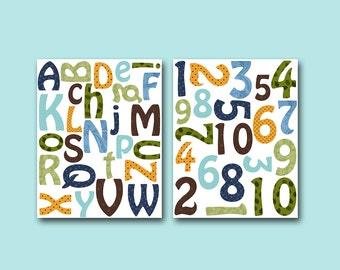 Digital Alphabet Nursery Numbers Printable Nursery Print Baby Boy Nursery Decor Baby Art Digital Print set of 2 8x10 11X14 INSTANT DOWNLOAD