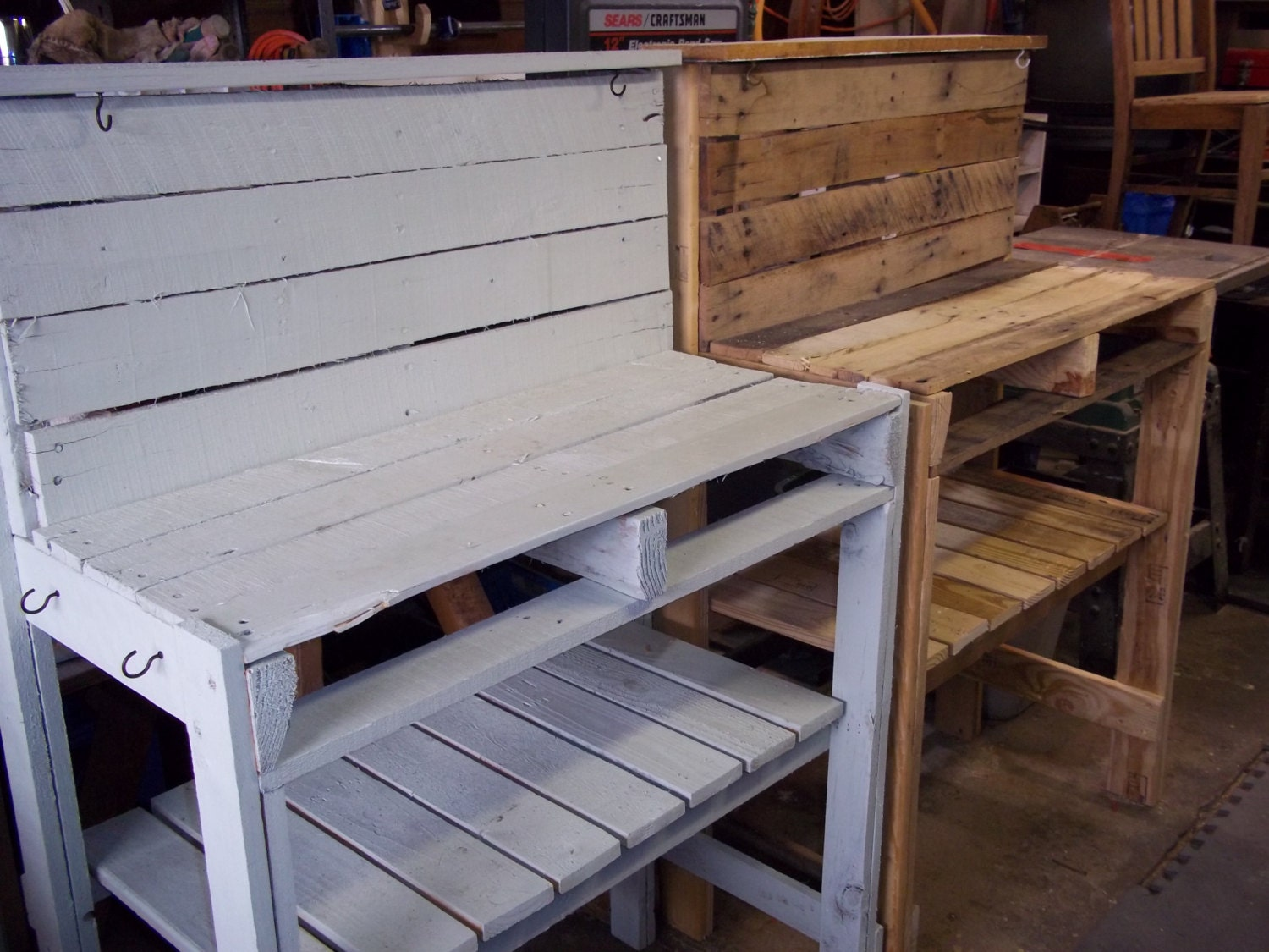 Potting Bench made of reclaimed pallet wood.