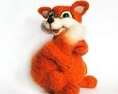 Artist needlefelted - OOAK Miniature collectible needle felted orange fox - Margo 3.9 inch.Orange, white, black, green