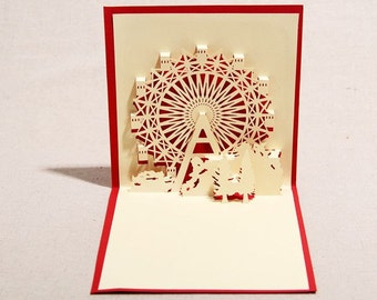 real three-dimensional greeting card / romantic ferris wheel birthday cards ,paper cutting 3D Christmas card