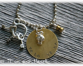 """Disney's Pirates of the Carribean movie inspired hand stamped necklace """"yo ho yo ho"""""""